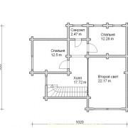 Дом двухэтажный с верандой- план 2 этажа