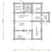 план дома с мансардой  - 1 этаж