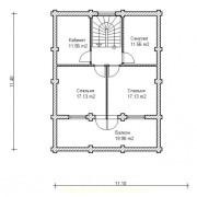 план дома с мансардой  - 2 этаж
