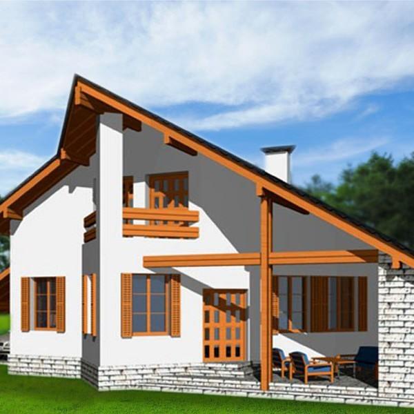 Дом с мансардой и верндой Эйфория