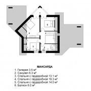 Дом с мансардой «Эйфория» - мансарда