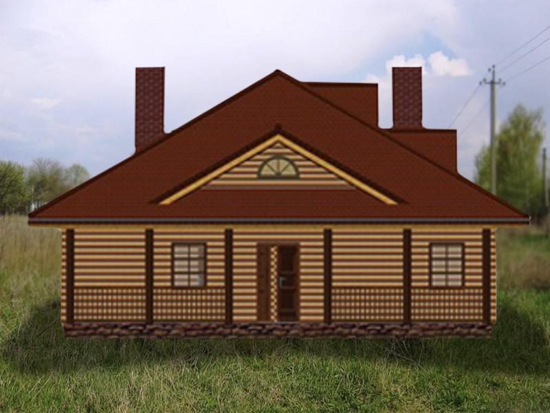 Дом одноэтажный террасой - фасад