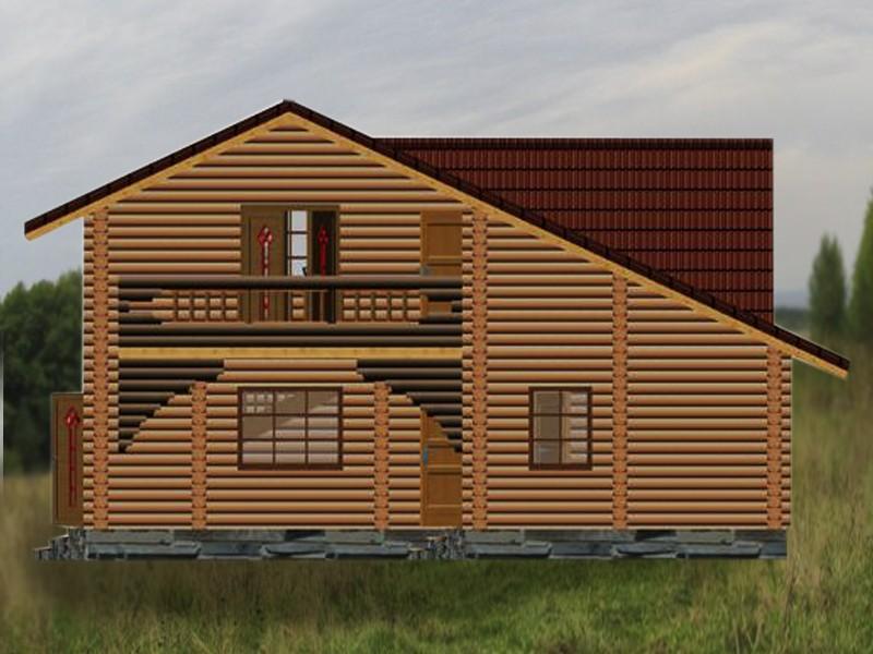 дом-баня двухэтажная с балконом енисей - фасад