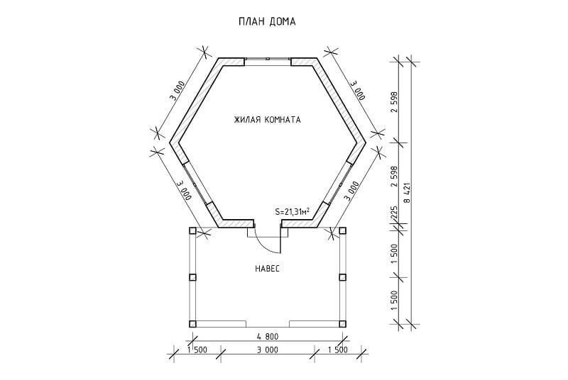 Дачный домик-баня «Оригинальная» (проект)