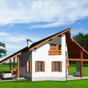 Дом с мансардой и верндой Эйфория фасад